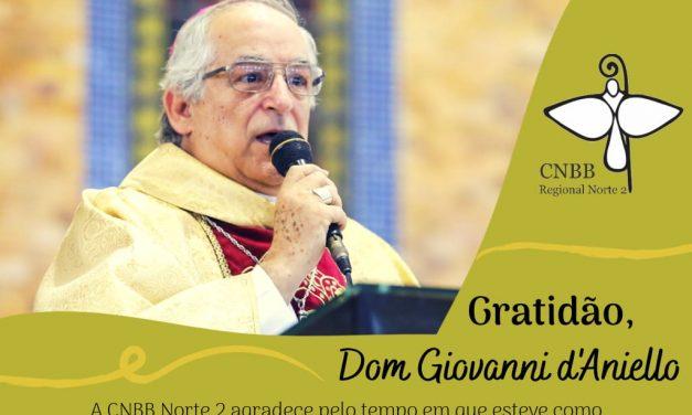 CNBB Norte 2 agradece a Dom Giovanni d'Aniello pelo tempo em exercício na Nunciatura Apostólica no Brasil
