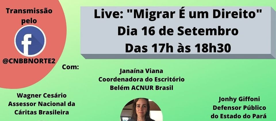 Cáritas Norte 2 faz live nesta quarta-feira sobre migração e direito